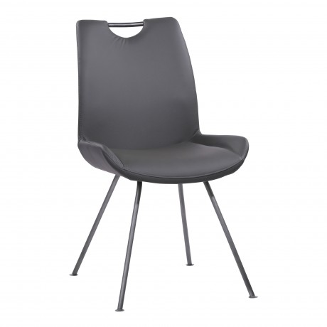 Coronado Contemporary Dining Chair in Grey Powder Coated Finish and Grey Faux Leather - Set of 2