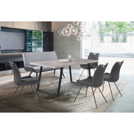 Armen Living Coronado Contemporary Dining Chair in Grey Powder Coated Finish and Grey Faux Leather - Set of 2