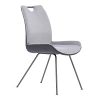 Armen Living Coronado Contemporary Dining Chair in Grey Powder Coated Finish and Pewter Fabric - Set of 2