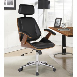 Century Office Chair with Multifunctional Mechanism in Chrome finish with Black Pu upholstery and Walnut veneer back