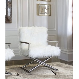 Calgary Contemporary Accent Chair in Polished Stainless Steel Finish with White Faux Fur