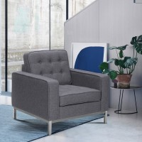 Chandler Contemporary Sofa Chair in Brushed Stainless Steel Finish and Dark Grey Fabric