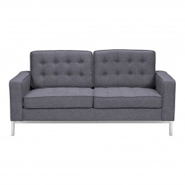 Chandler Contemporary Loveseat in Brushed Stainless Steel Finish and Dark Grey Fabric