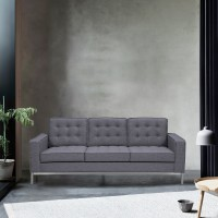 Chandler Contemporary Sofa in Brushed Stainless Steel Finish and Dark Grey Fabric