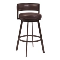 "Armen Living Chateau 26"" Counter Height Barstool in Auburn Bay and Brown Faux Leather"