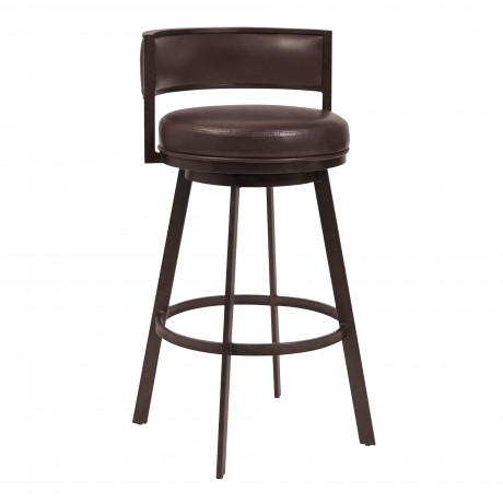 "Chateau 30"" Bar Height Barstool in Auburn Bay and Brown Faux Leather"