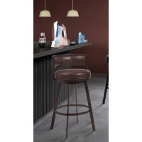 "Armen Living Chateau 30"" Bar Height Barstool in Auburn Bay and Brown Faux Leather"