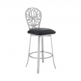 """Cherie Contemporary 30"""" Bar Height Barstool in Brushed Stainless Steel Finish and Black Faux Leather"""