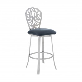 """Cherie Contemporary 26"""" Counter Height Barstool in Brushed Stainless Steel Finish and Grey Faux Leather"""