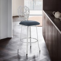"""Cherie Contemporary 30"""" Bar Height Barstool in Brushed Stainless Steel Finish and Grey Faux Leather"""