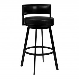 "Chateau 30"" Bar Height Barstool in Matte Black Finish and Vintage Black Faux Leather"