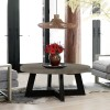Chester Modern Concrete and Acacia Round Coffee Table