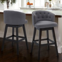 "Celine 26"" Counter Height Barstool in Espresso Finish and Grey Fabric"