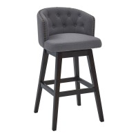 "Celine 30"" Bar Height Barstool in Espresso Finish and Grey Fabric"