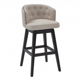 "Celine 30"" Bar Height Barstool in Espresso Finish and Tan Fabric"
