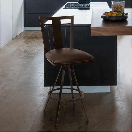 """Cleo 30"""" Transitional Barstool In Coffee and Auburn Bay"""
