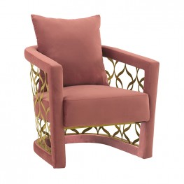 Corelli Blush Fabric Upholstered Accent Chair with Brushed Gold Legs