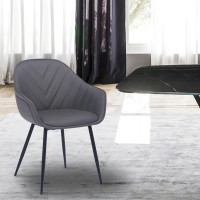 Clover Grey Faux Leather Dining Room Chair with Black Metal Legs