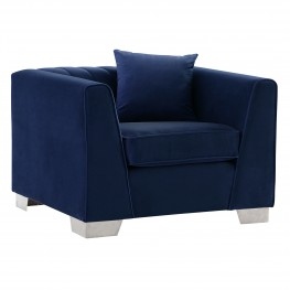 Cambridge Contemporary Chair in Brushed Stainless Steel and Blue Velvet