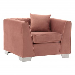 Cambridge Contemporary Chair in Brushed Stainless Steel and Blush Velvet