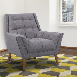 Armen Living Cobra Mid-Century Modern Chair in Dark Gray Linen and Walnut Legs