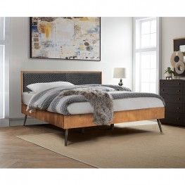 Coco Rustic Oak Wood Upholstered Leather King Platform Bed