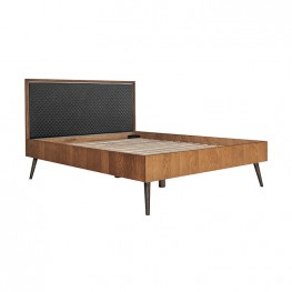 Coco Rustic Oak Wood Upholstered Leather Queen Platform Bed