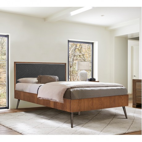 Coco Rustic Oak Wood Upholstered Faux Leather Queen Platform Bed