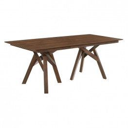 """Cortina 79"""" Mid-Century Modern White Wood Dining Table with Walnut Legs"""