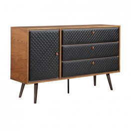 Coco Rustic Oak Wood and Leather Dresser