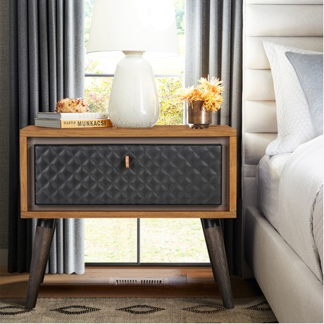 Coco Rustic Single Drawer Oak Wood and Faux Leather Nightstand