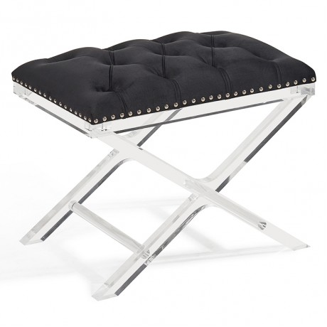 Armen Living Cody Modern and Contemporary Tufted Ottoman in Black Velvet with Acrylic Legs