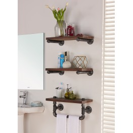 "20"" Conrad Industrial Pine Wood Floating Wall Shelf in Gray and Walnut Finish"