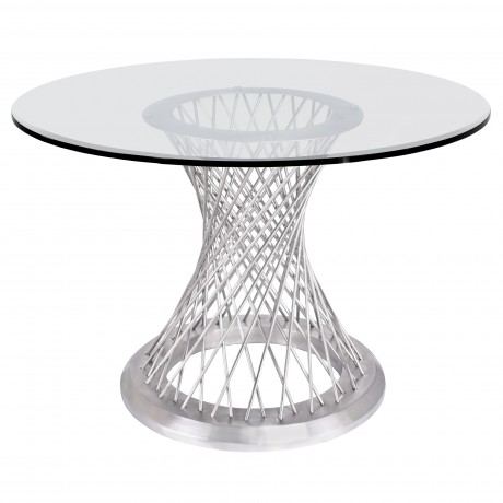Calypso Contemporary Dining Table in Brushed Stainless Steel with Clear Tempered Glass Top