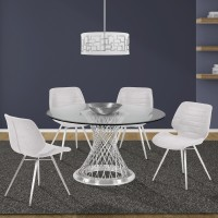Armen Living Calypso Contemporary Dining Table in Brushed Stainless Steel with Clear Tempered Glass Top