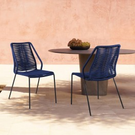Clip Indoor Outdoor Stackable Steel Dining Chair with Blue Rope - Set of 2