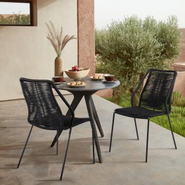 Clip Indoor Outdoor Stackable Steel Dining Chair with Black Rope - Set of 2