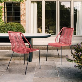 Clip Indoor Outdoor Stackable Steel Dining Chair with Brick Red Rope - Set of 2