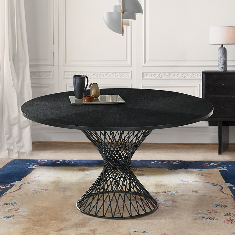 Cirque 54 Round Black Wood And Metal, 54 Round Pedestal Table
