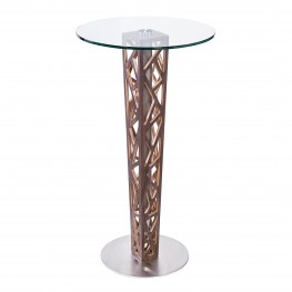 Crystal Bar Table with Walnut veneer column and Brushed Stainless Steel finish with Clear Tempered Glass top