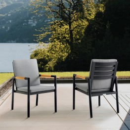 Crown Black Aluminum and Teak Outdoor Dining Chair with Dark Grey Fabric - Set of 2