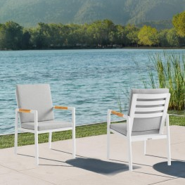 Crown White Aluminum and Teak Outdoor Dining Chair with Light Grey Fabric - Set of 2