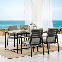 Crown Black Aluminum and Teak Outdoor Dining Table with Stone Top