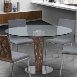 "Crystal Round Dining Table in Brushed Stainless Steel finish with Walnut Veneer Column and 48"" Glass Top"