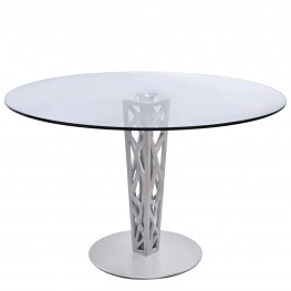 "Crystal 48"" Round Dining Table in Gray Walnut Veneer column and Brushed Stainless Steel finish with Clear Tempered Glass Top"
