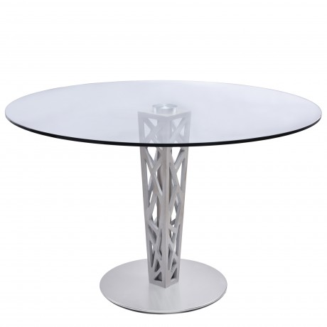 "Armen Living Crystal 48"" Round Dining Table in Walnut veneer column and Brushed Stainless Steel finish with Clear Tempered Glass top"