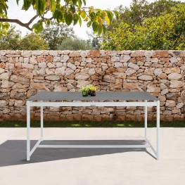 Crown White Aluminum and Teak Outdoor Dining Table with Stone Top