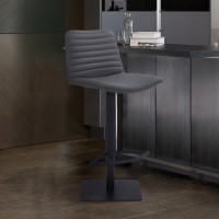 Carson Contemporary Adjustable Barstool in Black Powder Coated Finish and Grey Faux Leather