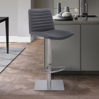 Carson Contemporary Adjustable Barstool in Brushed Stainless Steel Finish and Grey Faux Leather