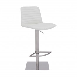 Carson Contemporary Adjustable Barstool in Brushed Stainless Steel Finish and White Faux Leather